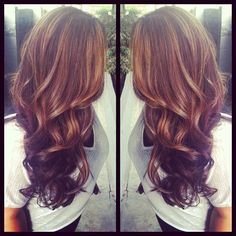 If I ever dies my hair, this is what I would do: Light brown highlights & dark brown lowlights, thick curls and long layers from PaintedHair.
