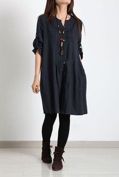 Blue loose cotton shirt dress