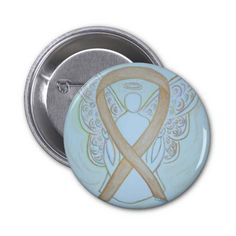 The #GoldAwarenessRibbon #AngelPin #Button means #support for #ChildhoodCancer where #leukemia and #BrainCancer are common #cancer for #children.