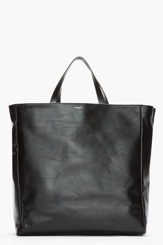 SAINT LAURENT Reversible Black Suede Leather Trimmed Shopping Tote