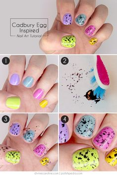 I love these four EASY steps to YUMMY nails! Easter-Inspired Nail Art: Cadbury Mini Eggs! | Divine Caroline