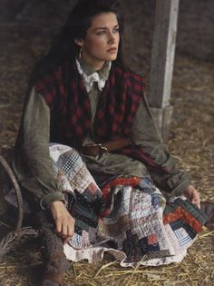 a log cabin quilt skirt would be so funky to wear but I love it in this photo