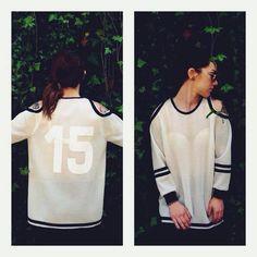 handmade white neoprene sweater