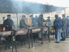 Etaples-sur-Mer, Pas de Calais - Herring Festival with the fish being grilled...