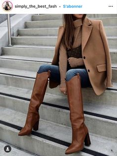 Brown Boots Outfit Winter, Tall Boots Outfit, Camel Boots, Winter Boots Outfits, Tall Brown Boots, Fall Outfits, Fashion Outfits, Womens Fashion, High Boots