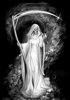 This is the time I've ever seen a Lady Reaper! Female Grim Reaper, Grim Reaper Art, Grim Reaper Tattoo, Don't Fear The Reaper, Dark Gothic Art, Dark Fantasy Art, La Santa Muerte Tattoo, Angel Of Death Tattoo, Gothic Fantasy Art