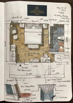 Interior Design Guide, Interior Design Sketches, Sketch Design, Interior Architecture Drawing, Architecture Student, Architecture Plan, Vintage House Plans, Cat Wallpaper, Architect Design