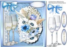 Anniversary or Bbirthday Wishes Blue  on Craftsuprint designed by Ceredwyn Macrae - A lovely card to make and give to anyone with birthday Or Anniversary Wishes in Blue has two greeting tags and a blank one ,  - Now available for download!