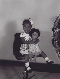 """""""Little Girl With Black Doll In The Studio"""" by Henry Clay Anderson"""