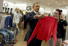 "Obama's Gap Shopping Trip | according pool reports, a White House official stated: ""In his State of the Union address, the President called for businesses to raise workers' wages, and today the President will visit a Gap store to show his support for Gap Inc.'s decision to increase wages for their US based employees."" (I love our Pres!)"