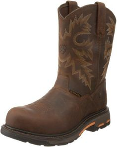 """Ariat Men's Workhog RT Composite toe Boot Boot Ariat. $169.95. Permium full-grain leather, Goodyear welt, Composite toe, Oil-resistant and slip-resistant sole, 10"""" shaft. leather. Rubber sole"""