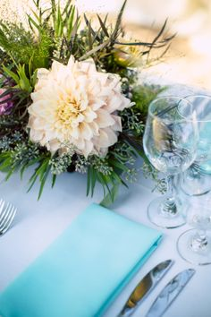 Such a #lovely, #bright, #happy #tablesetting with #dahlias + #greens, #brightblue or #teal + #simple #display. ::Cindy + Eric's delightful, natural outdoor wedding at the Rio Villa Beach Resort in Monte Rio, California:: #weddingreception #table #weddingtable #weddingdecor #eventplanning #weddingphotography