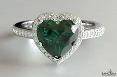 Custom Fine Jewellery Design New Zealand 1ct Heart Shaped Emerald and Round Brilliant cut Diamond Engagement Ring