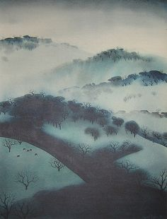 """""""Eyvind Earle - American artist, author, illustrator, known for his background illustrations / styling for Disney in the Eyvind Earle, New York City, Illustrator, Magic Realism, Winter Art, Art Graphique, Environmental Art, Land Art, Big Sur"""