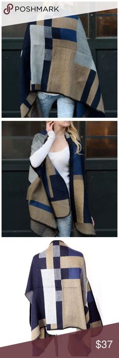 """B69 Beige Navy Blue Ruana Poncho Cape Scarf ‼️ PRICE FIRM UNLESS BUNDLED WITH OTHER ITEMS FROM MY CLOSET ‼️   Ruana Poncho/Scarf  Retail $79  I ABSOLUTELY LOVE THIS! So soft & comfortable!  100% acrylic. 26"""" by 72"""".  Please check my closet for more items including jewelry, shoes, handbags designer clothing & more! Accessories Scarves & Wraps"""