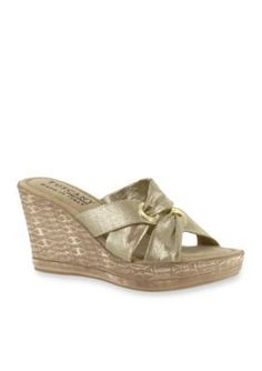 TUSCANY by easy street Gold Solaro Wedge Sandals
