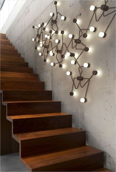Unique Staircase Wall Decorating 947 31 Stair Decor Ideas to Make Your Hallway Look Amazing Industrial Light Fixtures, Industrial Lighting, Interior Lighting, Modern Lighting, Lighting Design, Lighting Ideas, Industrial Style, Funky Lighting, Industrial Closet