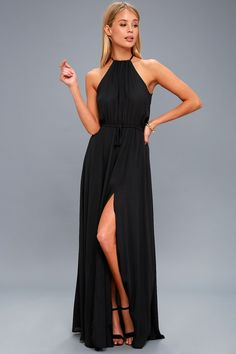Lulus Exclusive! Be the foremost authority in comfy fashion with the Essence of Style Black Maxi Dress! A tying apron neckline with back cutout tops a drawstring waist, and flowy maxi skirt with side slit.