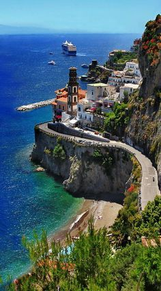 artncity: Amalfi Coast Scenic beautiful places for travel atraniitaly Places Around The World, The Places Youll Go, Places To See, Best Places In Italy, Dream Vacations, Vacation Spots, Italy Vacation, Italy Trip, Tourist Spots