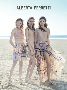 Channeling the runway show's 1970s, bohemian vibe, the spring-summer 2015 advertisements from Alberta Ferretti head to the beach with a cast featuring rising stars Alisa Ahmann, Natalie Westling and Valery Kaufman. Peter Lindbergh of 2b Management photographed the girls while wearing fringe, side, denim and long sweeping maxi dresses. See more from the new campaign below.