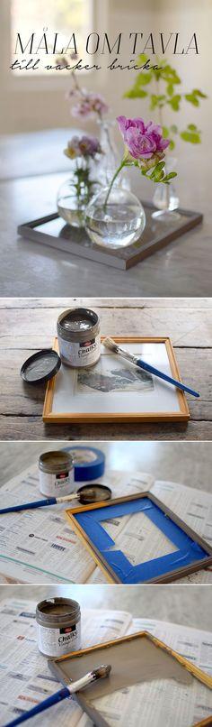 Remake framed painting into a glass tray for your still life, DIY, reuse, recycle | Gör om en tavla till en glasbricka för dina stilleben, Pyssel, återbruk.  @helenalyth