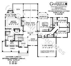 Breckenridge Cottage House Plan # 08132, 1st Floor Plan, Mountain Style House Plans, Lake Style House Plans