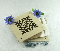 Flower Press  Wood Pyrography  Floral Design Plant by bkinspired