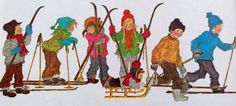 Illustratie van Ilon Wikland uit het boek 'Winter in Bolderburen' van Astrid Lindgren. Kids Corner, Diy Canvas, Book Illustration, Childhood Memories, Childrens Books, Illustrators, Cartoon, Drawings, Ski Slopes