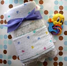 Baby Infant New Born Receiving Blanket  Hearts and by monbebes, $22.95