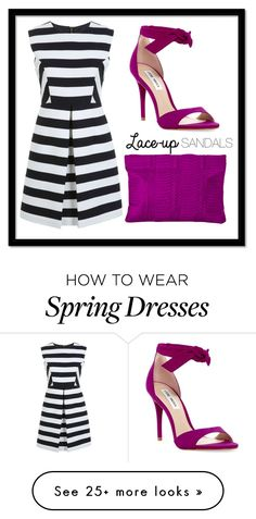"""Orchid + Stripes"" by lns10247 on Polyvore featuring Steve Madden, Miss Selfridge, Deux Cuirs, contestentry, laceupsandals and PVStyleInsiderContest"