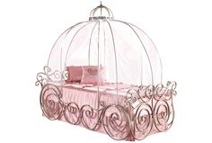 Enchanting Princess Carriage Bed For Kid Bedroom Furniture Ideas: Silver Iron Princess Carriage Bed With Pink Bedding For Kids Bedroom Furniture Ideas Disney Princess Carriage Bed, Disney Princess Bedroom, Princess Room, Cute Furniture, Kids Bedroom Furniture, Furniture Ideas, Colourful Cushions, Pink Bedding, Little Girl Rooms