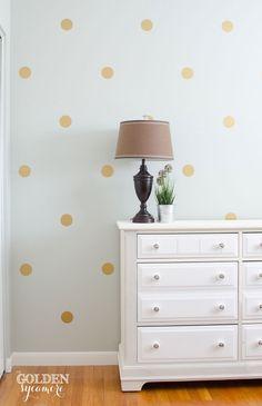DIY: gold polka dot wall