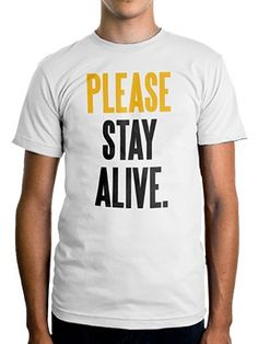"Inspired by the blog written on World Suicide Prevention Day, ""Please Stay Alive"" is TWLOHA's attempt to remember the heart of suicide prevention, which is people. Each shirt comes with the Please Stay Alive blog printed inside.This item will ship by Sept. 28."