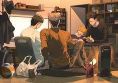 Bokuto, Akaashi, Kuroo and Tsukishima Bokuto Koutarou, Kuroo Tetsurou, Kuroken, Bokuaka, Kenma, Haikyuu Karasuno, Haikyuu Ships, Haikyuu Fanart, Haikyuu Anime