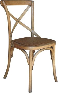 """NEW """"Noosa"""" Natural Oak French Bistro Style Timber Cross Back Dining Chair Seat au.picclick.com"""