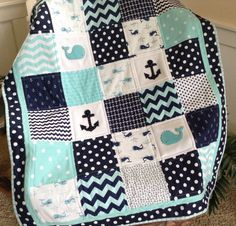 Nautical Anchor & Baby Whale quilt in aqua navy and white | Etsy