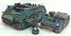 Sons of Horus Land Raider, Rhino, and Marine. Fantastic work