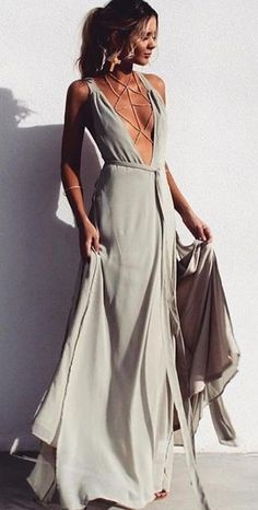 #summer #feminine #style   Olive Green gown