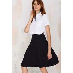 Piccadilly Pleated Skirt ($19) ❤ liked on Polyvore featuring skirts, black, high waisted knee length skirt, high rise skirts, elastic waist skirt, high waist skirt and pleated skirts