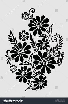 Vector de stock (libre de regalías) sobre Traditional Indian Motif419893351 Drawing Stencils, Stencil Painting, Fabric Painting, Hand Embroidery Dress, Hand Embroidery Designs, Embroidery Patterns, Folk Embroidery, Flower Silhouette, Silhouette Art