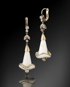 Carved Ivory and Diamond Calla Lily Pendant Earrings, circa 1880s