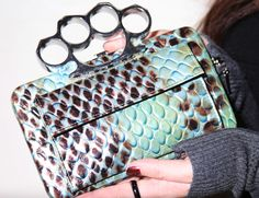 brass knuckles clutch. Brass Knuckles, No Frills, Louis Vuitton Damier, Style Me, Swag, Fancy, Clothing, Accessories, Shoes