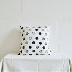 Black & White Polka Dots Pillow, hand-painted decorative pillow, throw pillow for Living Room and Home Decor. by taftyli on Etsy https://www.etsy.com/listing/177393127/black-white-polka-dots-pillow-hand