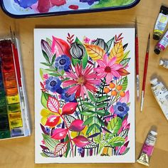 watercolouring through the gloom and doom of this December day... #watercolor #painting #floral #bright by helen_dardik