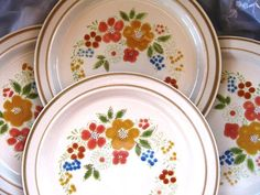 1970s Retro Sweet Flowers 305 Stoneware Dinner by ChinaGalore, $44.00