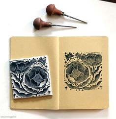 Lino and Woodcut Flower Illustration Pattern, Illustration Blume, Stamp Printing, Screen Printing, Printing Press, Linoleum Block Printing, Stamp Carving, Handmade Stamps, Linoprint