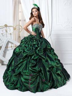 Green Taffeta Ball Gown Gothic Wedding Dress