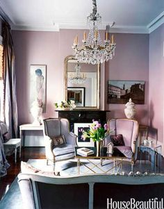 The chandelier, the urns flanking the fireplace, the mirror on the mantel, and the tiered sconce were found in New Orleans antiques stores.