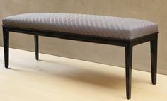 Eugène Printz BENCH lacquered wood and fabric upholstery 18 x 49 3/8  x 15 3/8  in. (45.7 x 125.4 x 39.1 cm) circa 1925