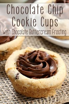You can whip up a batch of these Chocolate Chip Cookie Cups with Chocolate Buttercream Frosting in no time! Always a hit - and easy to make! AD